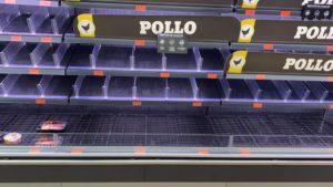 Estantería vacía de supermercado
